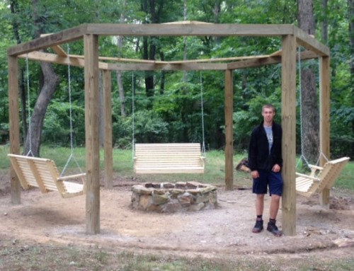 Aaron Bazler builds swings at Shawnee Nature Center for Eagle Scout project