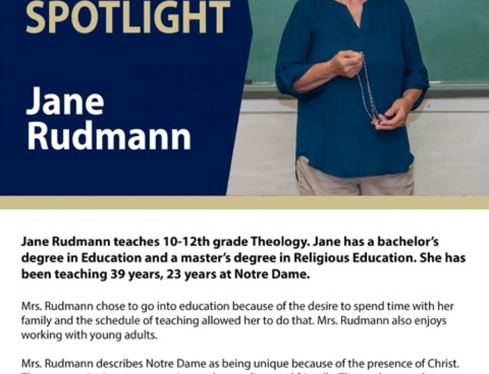 Mrs. Rudmann teaches Religious Ed at ND
